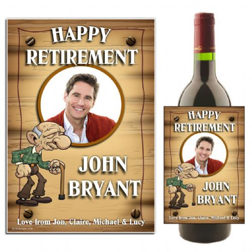 Personalised Happy Retirement Wine / Champagne Bottle PHOTO Label N43